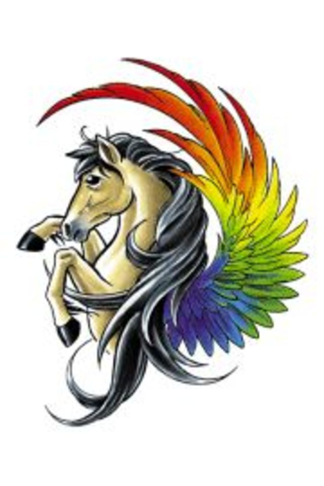 Colorful Wings Pegasus Tattoo Design Idea Stencil