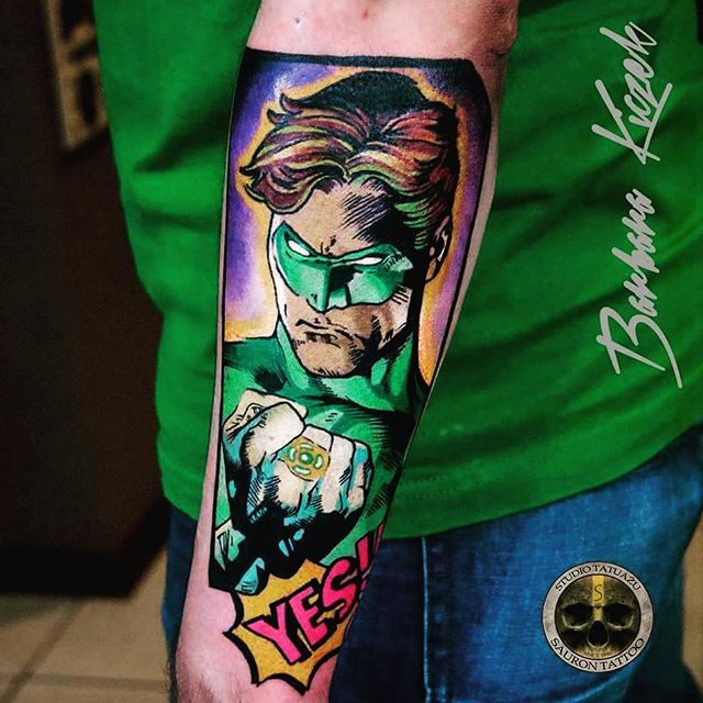 Comic Men Face Lantern Tattoo On Lower Sleeve