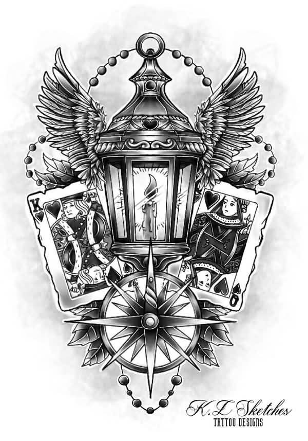 Compass With Angel Wings Victorian Lantern Tattoo