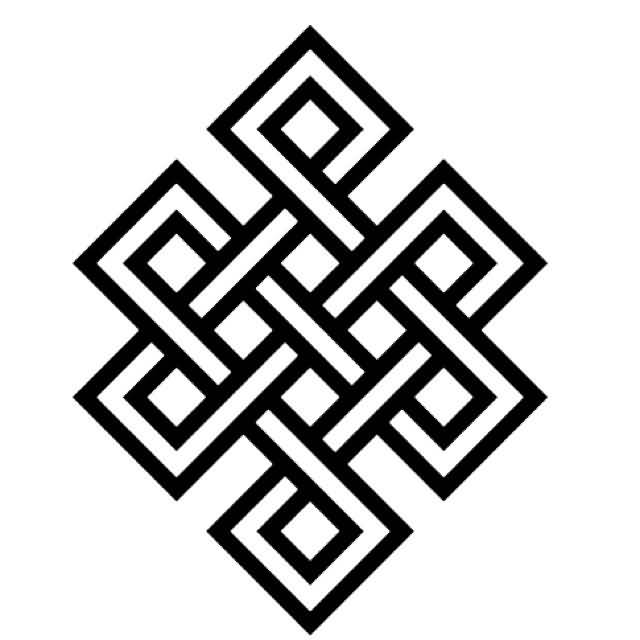 Cool and Nice White And Black Awesome Endless Knot Tattoo