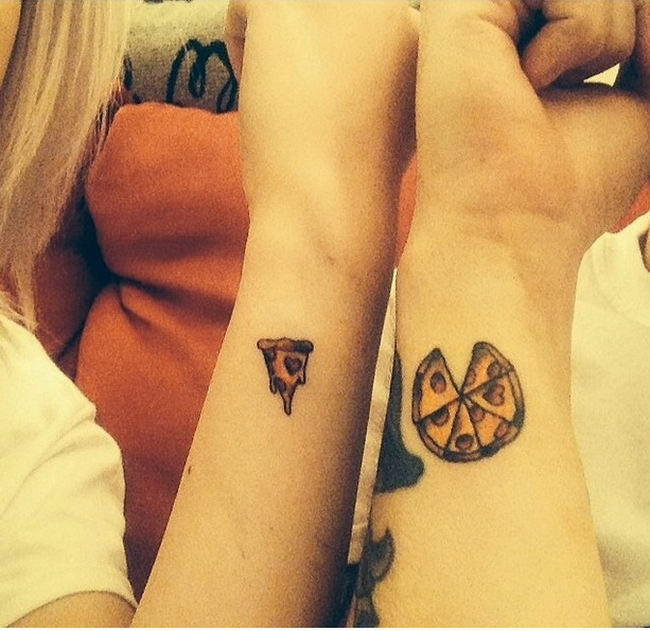 Couple Show Pizza Cut Pieces Tattoo