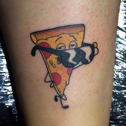 Crazy Cartoon Pizza Wear Sunglasses Tattoo