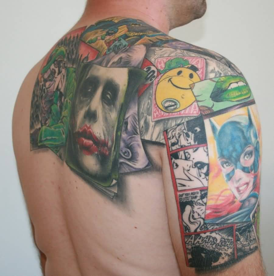 Crazy Extreme Famous Cartoon Comic Tattoo On Shoulder And Upper Back