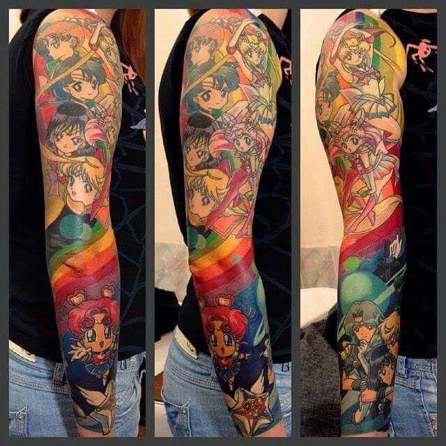 Crazy Famous Old School Cartoons Full Sleeve Tattoo