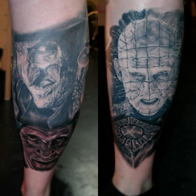 Crazy Freddy And Nice Pinhead Tattoo Design