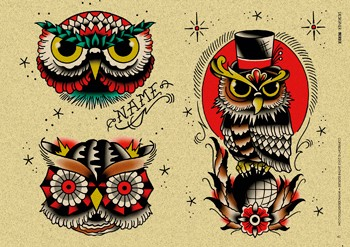 Crazy Old School Owl Stencil Tattoo Design