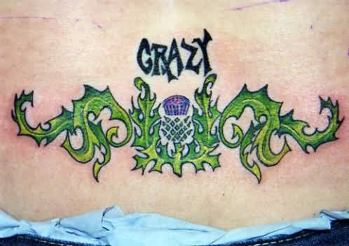 Crazy Simple Scottish Green Ink Tattoo