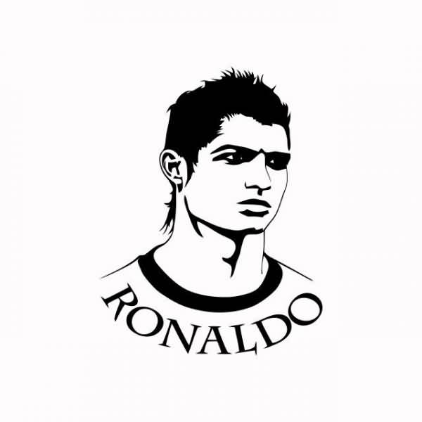 Cristiano Ronaldo Real Madrid Face Tattoo Stencil