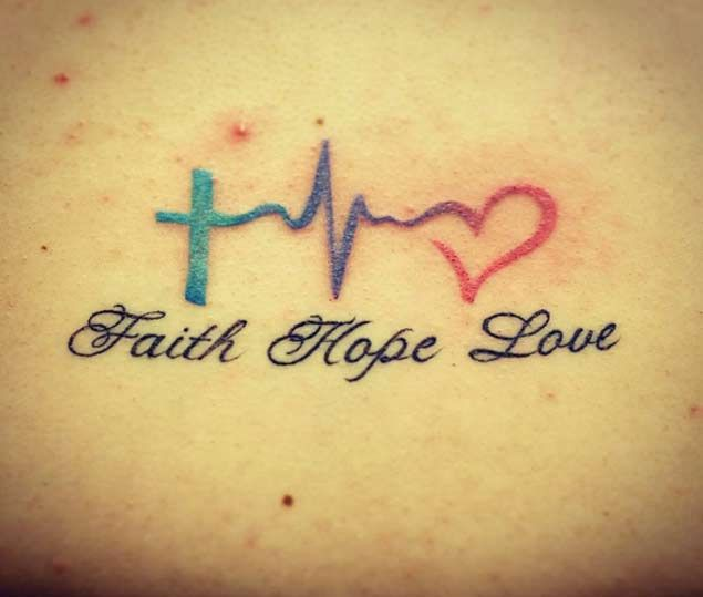 Cross Heartbeat Love Letter Tattoo
