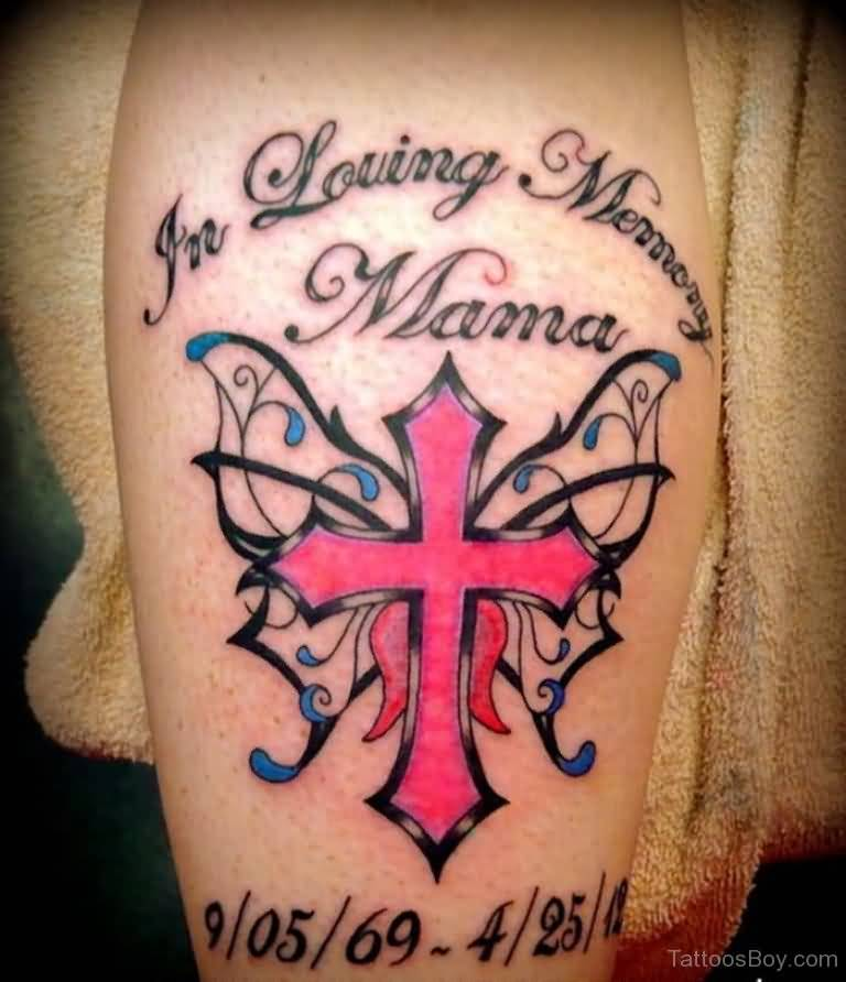 Cross Nice Letter Cross Memorial Tattoo For Mom