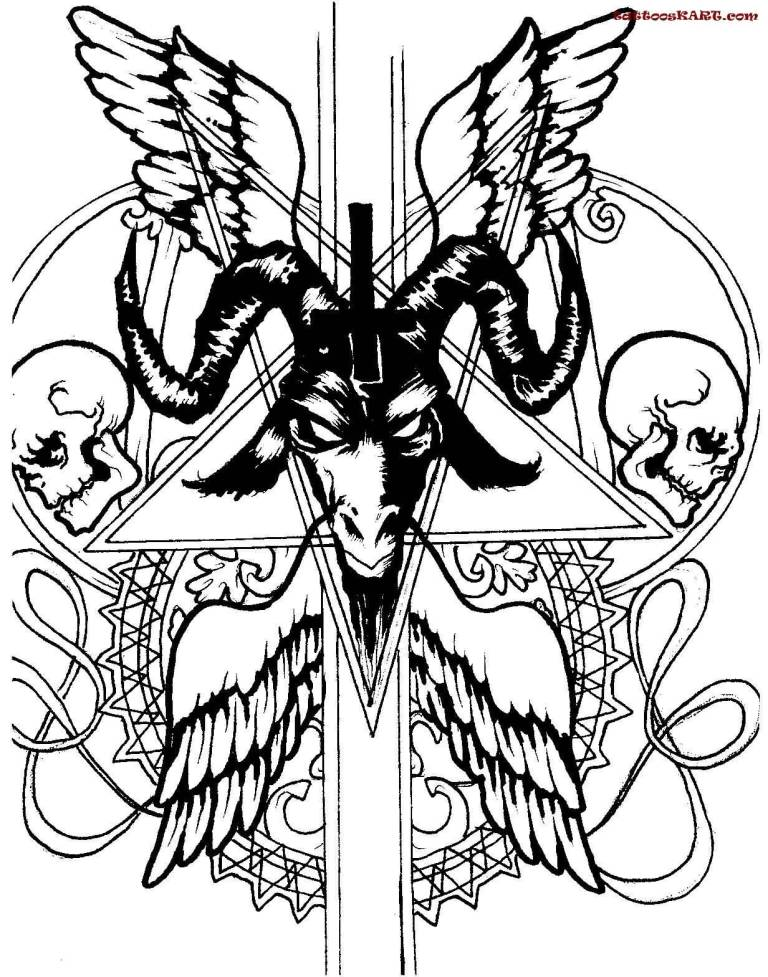 Cross Satan Symbol Tattoo Design Stencil