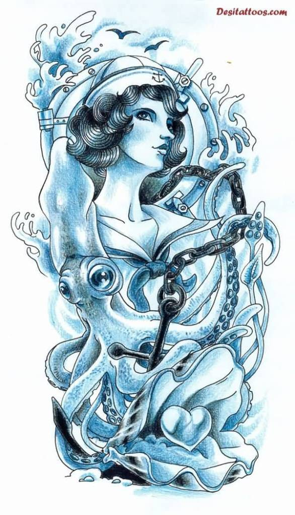 Cross Sea Creature Lady Octopus Tattoo