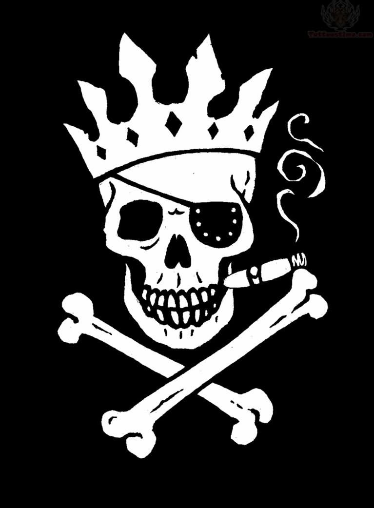 Crown King Jolly Roger Tattoo Of Skull