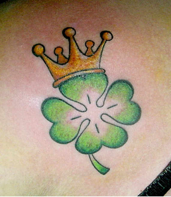 Crown Nice Heart 4 Leafs Shamrock Tattoo Design Idea