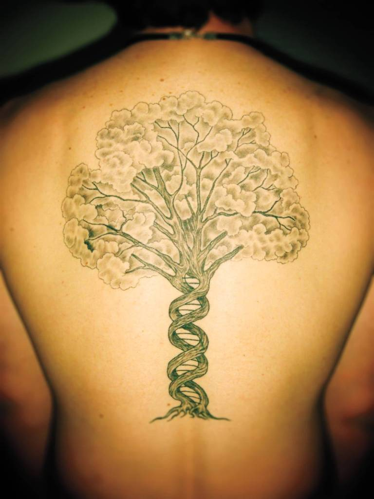 DNA Amazing Science Biology Tree Tattoo On Upper Back