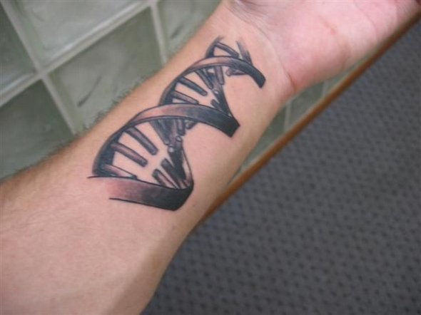 DNA Grey Ink Biology Science Tattoo On Forearm