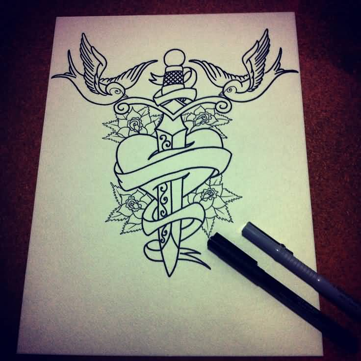 Dagger In Heart With Old School Flying Swallows Tattoo Design
