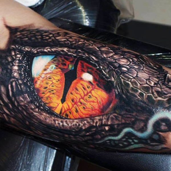 Dangerous And Realistic Eye Of Reptile Snake Tattoo