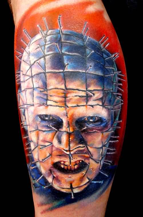 Dangerous And Scary Pinhead Tattoo Design