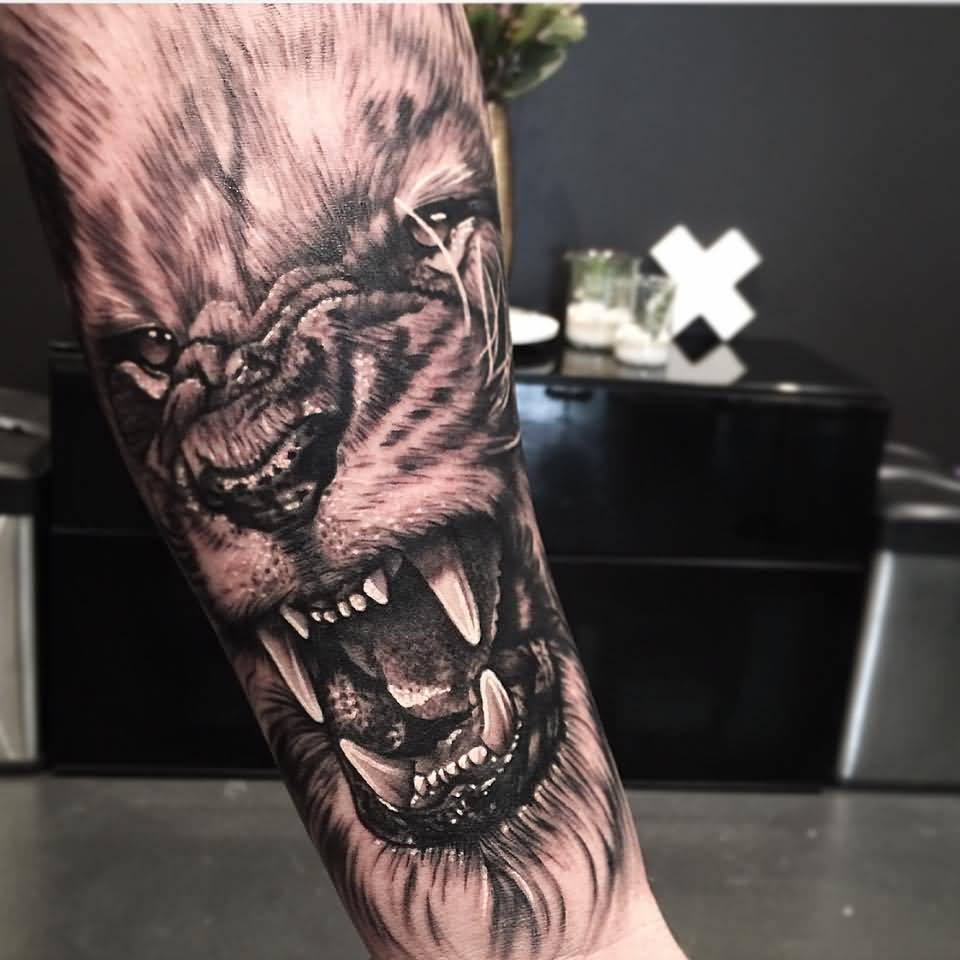 Dangerous Cool Lion Face Tattoo Design Idea Made By Levi Barnett On Lower Arm
