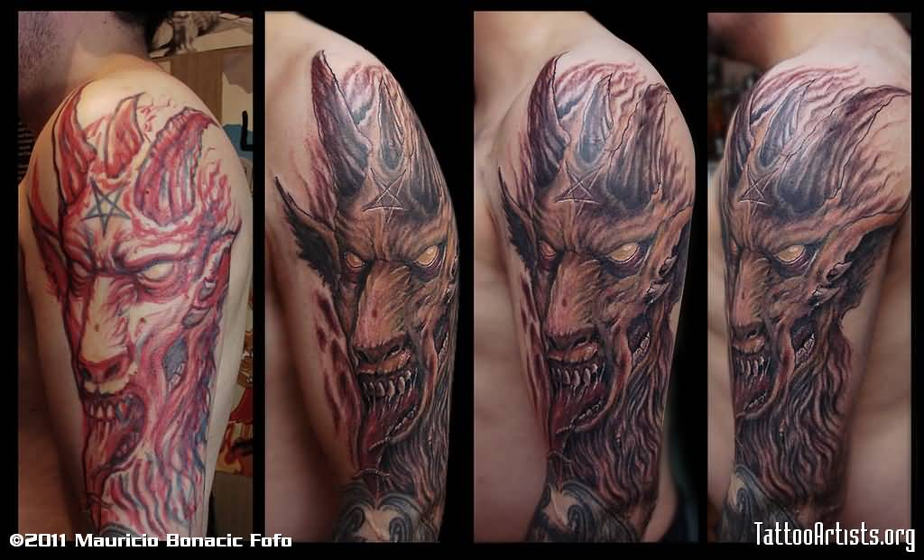 Dangerous Half Sleeve Amazing And Simple Satan Scary Face Tattoo