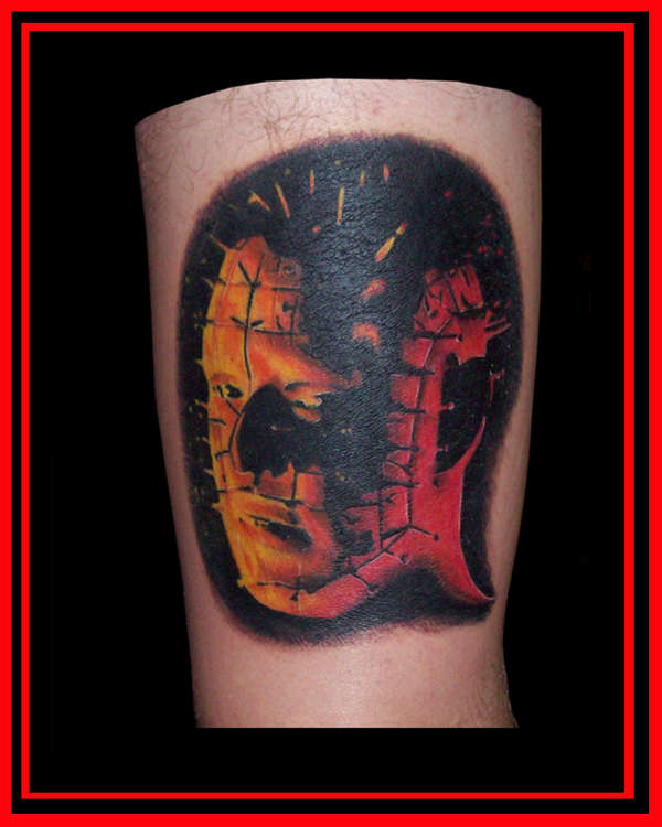 Dangerous Look Scary Pinhead Tattoo By Red And Blue Ink