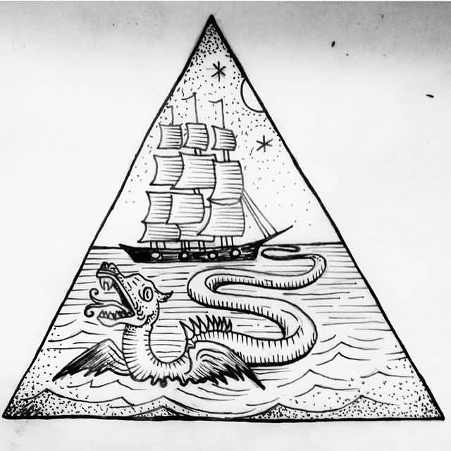 Dangerous Monster Sea Creature Triangle Pirate Ship Tattoo