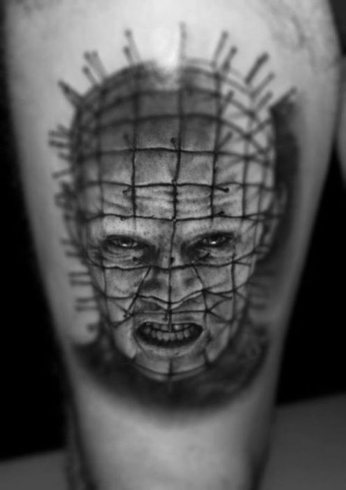 Dangerous Scary Look Pinhead Tattoo