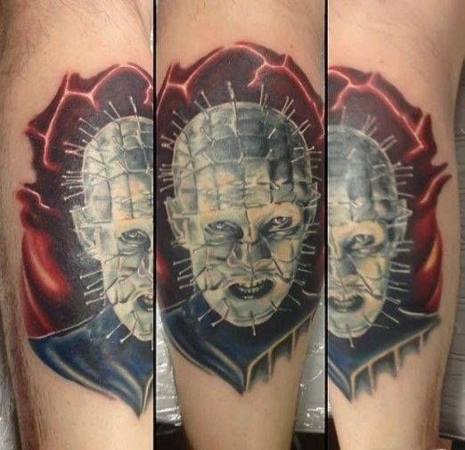 Dangerous Scary Pinhead Face Tattoo Design
