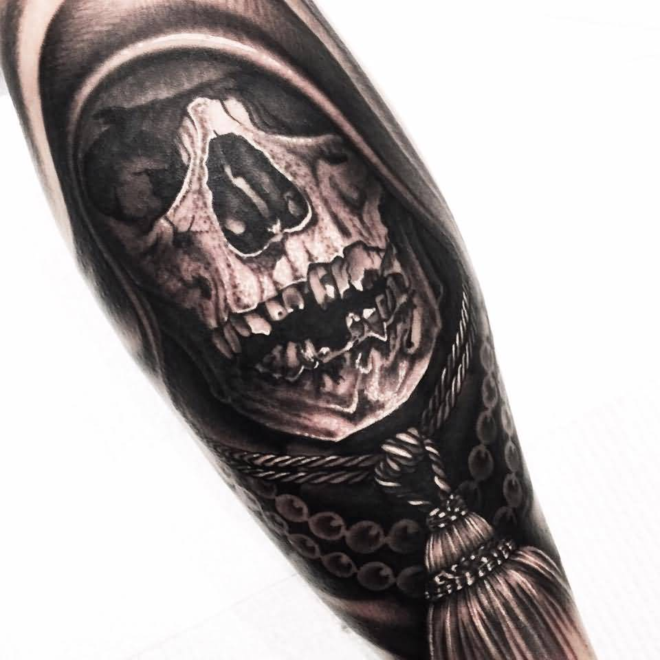 Dangerous Scary Skull Tattoo Design For Arm Made By Levi Barnett