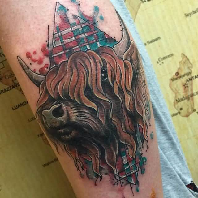 Dangerous Scottish Buffalo Face Tattoo Design On Sleeve