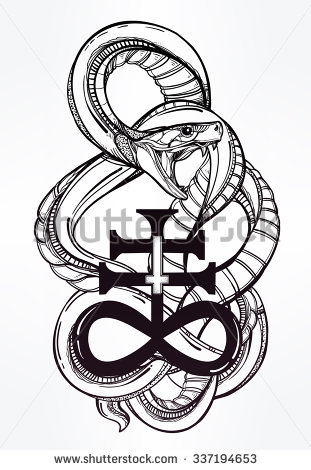 Dangerous Snake Around Satan Symbol Tattoo Design Stencil