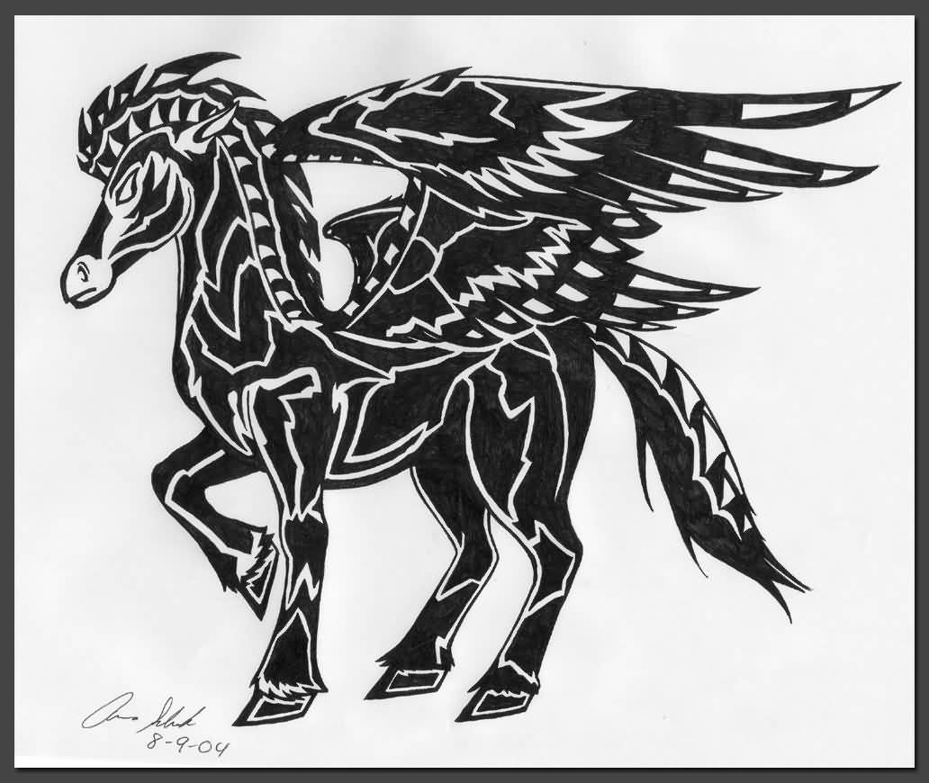 Dark Black Ink Walking Pegasus Tattoo Stencil