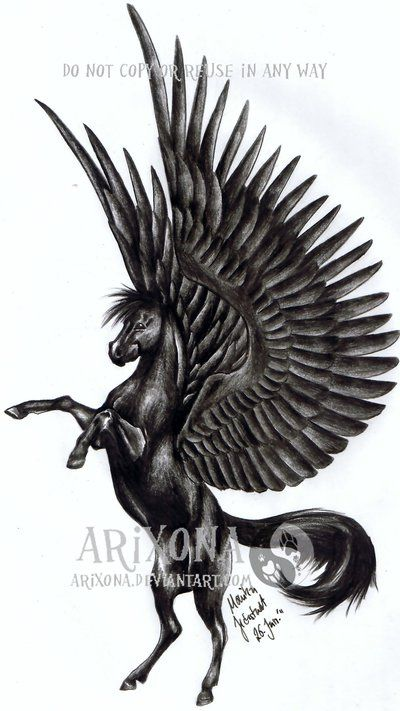 Dark Black Standing Pose Pegasus Tattoo Stencil