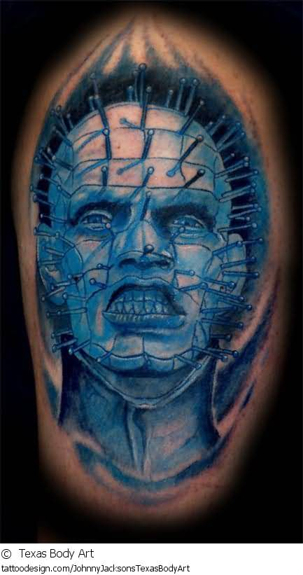 Dark Blue Ink Simple And Nice Pinhead Tattoo