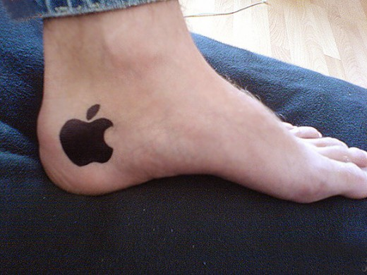 Dark Shaded Black Ink Nice Apple Logo Tattoo Design