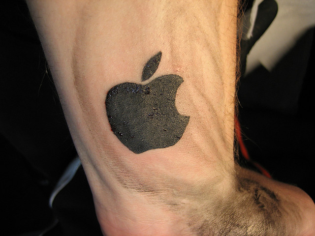Dark Shaded Nice Apple Logo Tattoo Design