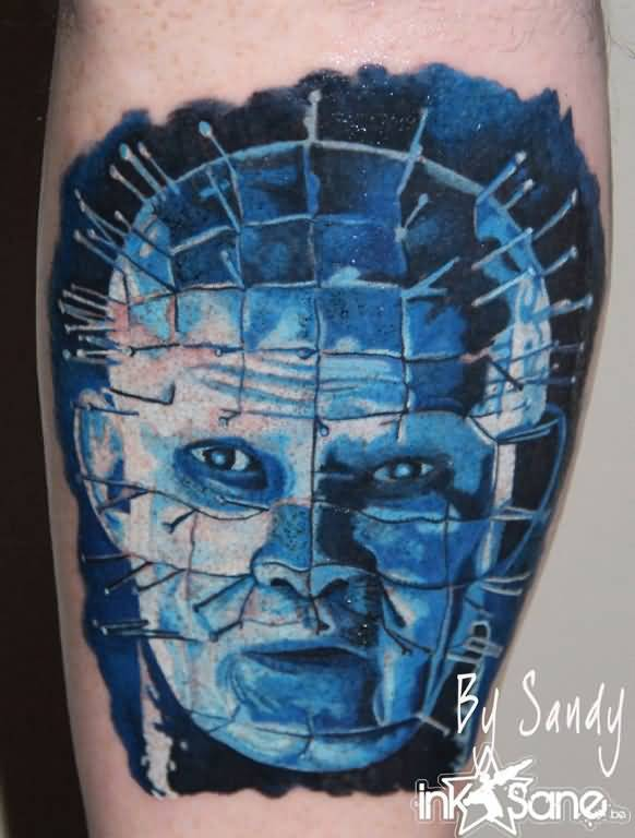 Dark Watercolor Blue Ink Pinhead Tattoo
