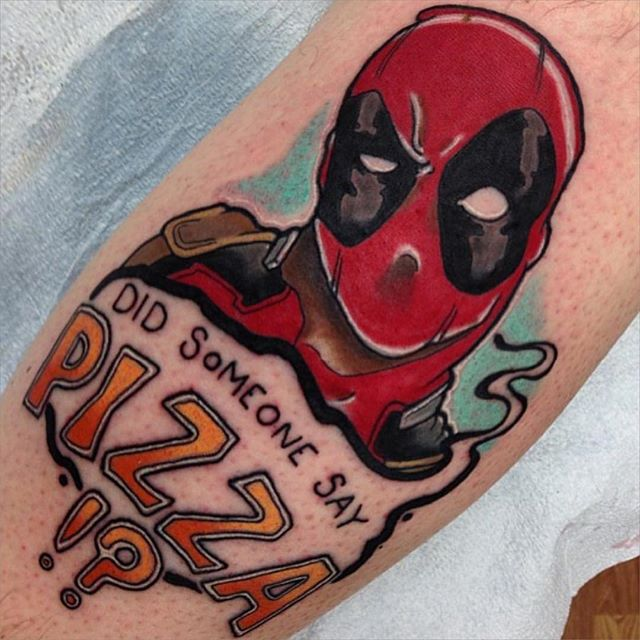 Deadpool Nice Pizza Text Tattoo