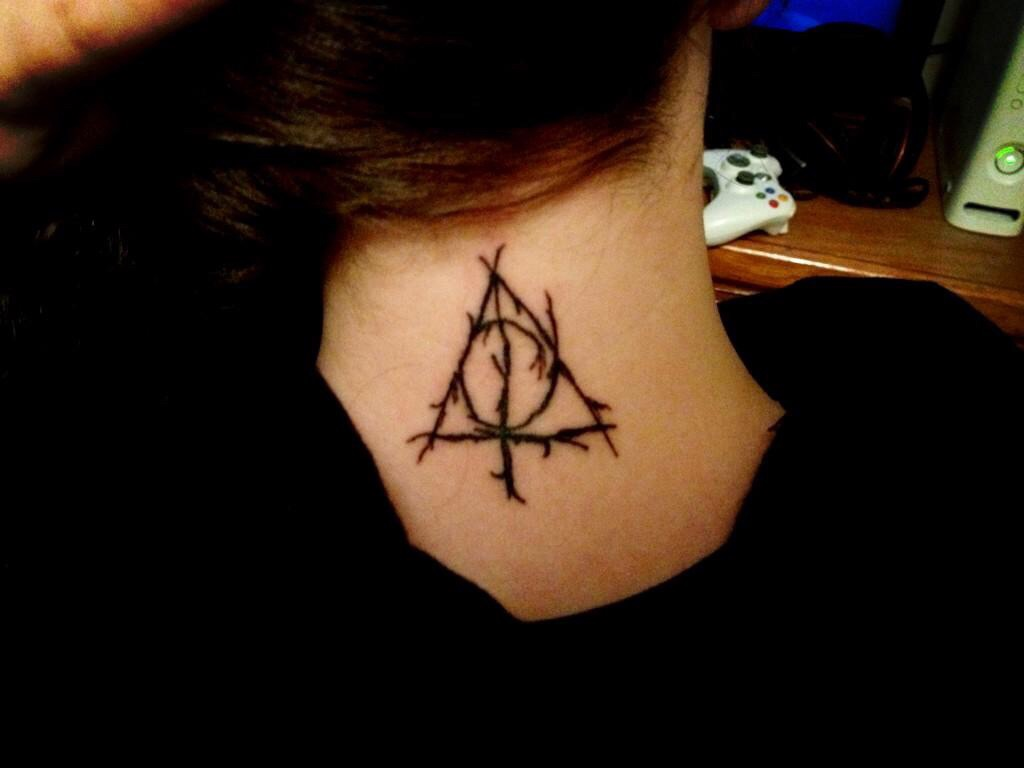 Deathly Black Ink Hallows Tattoo