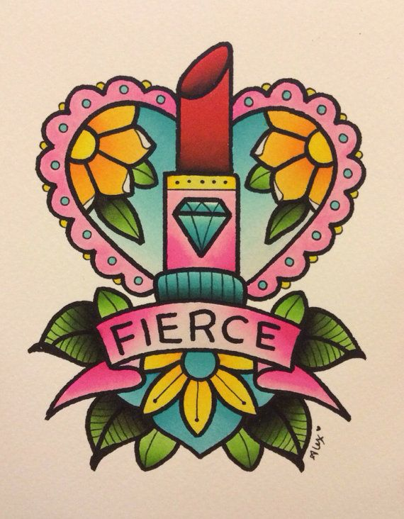 Diamond And Fierce Banner Old School Red Lipstick Tattoo