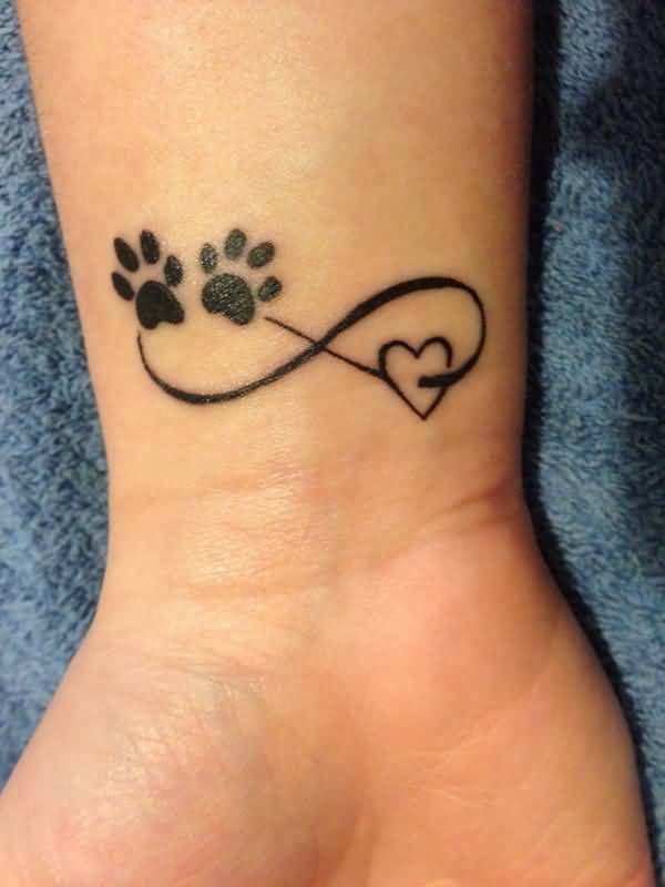 Dog Paw Nice Heart Infinity Tattoo On Wrist