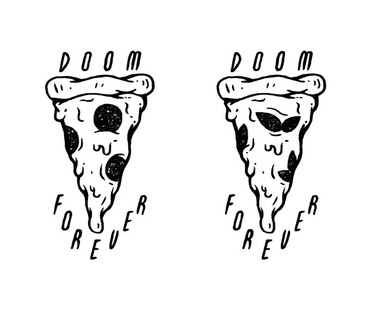 Doom Forever Stencil Pizza Tattoo Sketch