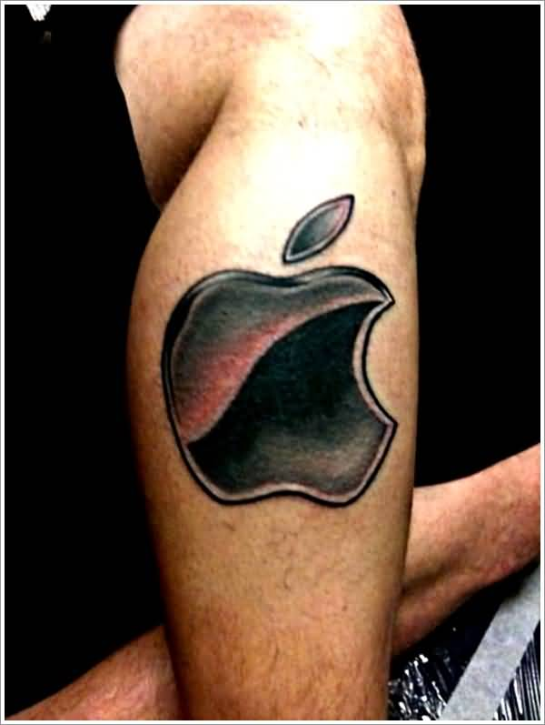 Dotted Black Ink Nice Apple Logo Tattoo On Men Leg