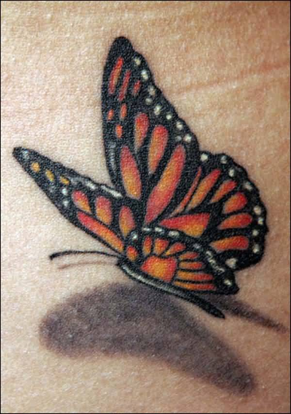 Dotwork Shadow Monarch Butterfly Tattoo
