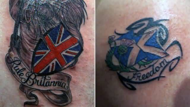 England And Scottish Flag Tattoo Design With Nice Banner