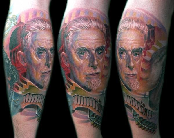 Escher Face Realistic Tattoo For Arm Sleeve