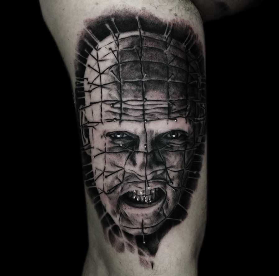 Fabulous And Nice Pinhead Tattoo Design On Leg