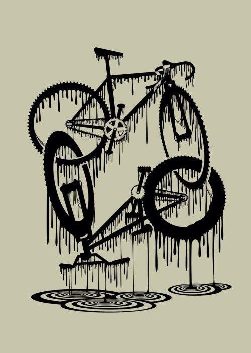 Fabulous Black Ink Awesome Bicycle Tattoo Designable Idea