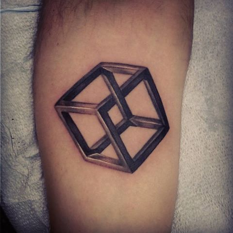 Fabulous Escher Nice Cube Tattoo